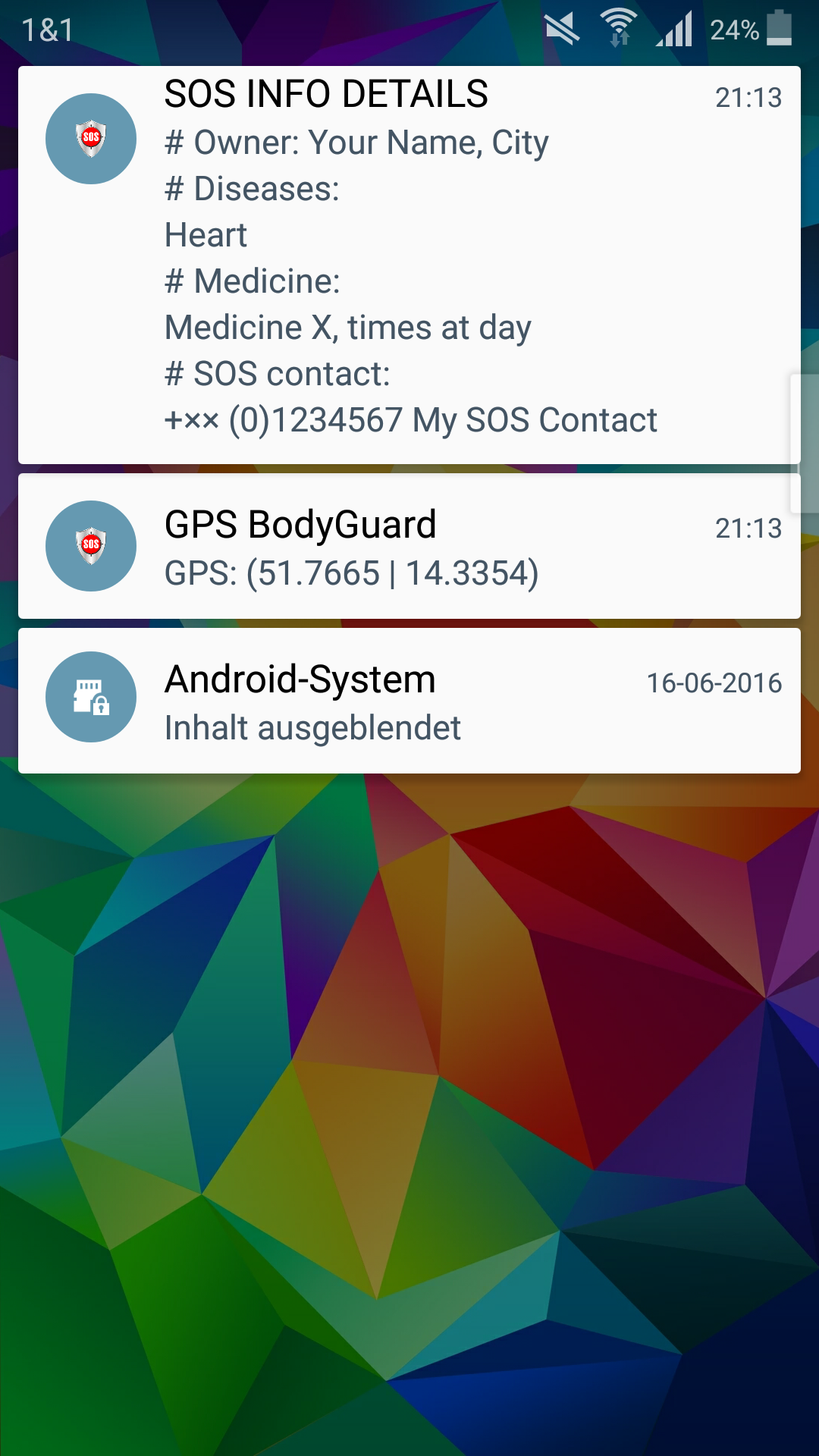 SOS App GPS BodyGuard Screen SOS Info